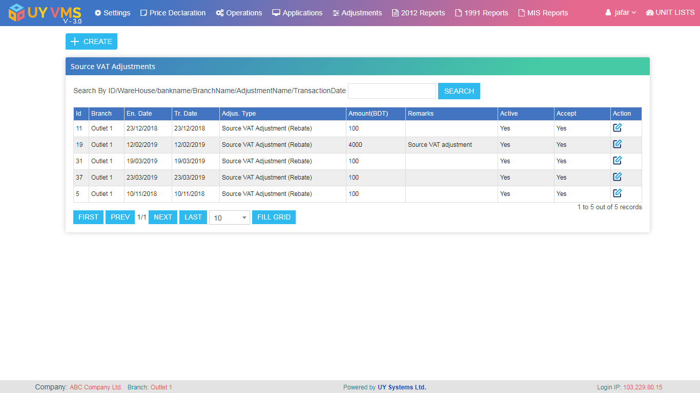 VAT Management System   UY Systems Ltd